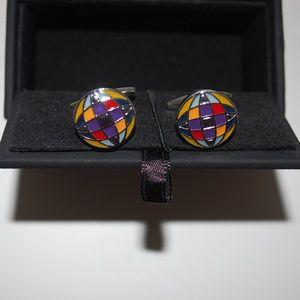 NIB Murano Globe Multi-Color Circle Cuff LInks